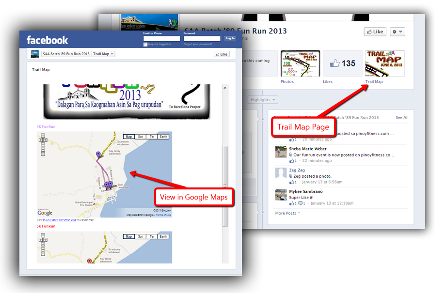 SAA Batch '89 FunRun Trail Map within the Facebook page.SAA Batch '89 FunRun Trail Map within the Facebook page.